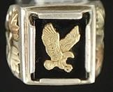 MEN'S BLACK HILLS SILVER/GOLD  EAGLE RING
